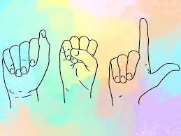 Hands signing ASL in a soft pastel color scheme
